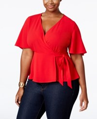 Monteau Trendy Plus Size Faux Wrap Blouse Red