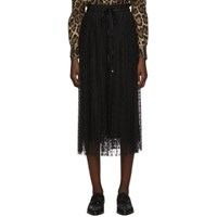 Dolce And Gabbana Black Tulle Pleated Polka Dot Skirt