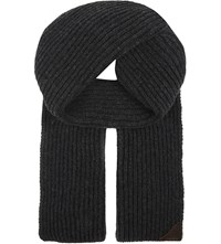 Aspinal Of London Ribbed Merino Wool And Cashmere Blend Scarf Grey