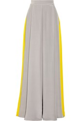 Roksanda Ilincic Two Tone Crepe De Chine Maxi Skirt Gray