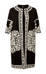 Naeem Khan Three Quarter Length Sleeve Embroidered Coat Black