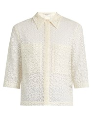 Stella Mccartney Short Sleeved Lace Shirt Ivory