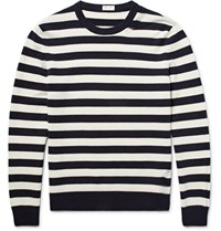 Saint Laurent Distressed Striped Wool And Cashmere Blend Sweater Navy