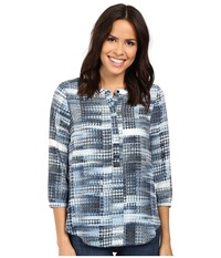 Nydj 3 4 Sleeve Pleat Back Lady Luck Houndstooth Blue Women's Blouse