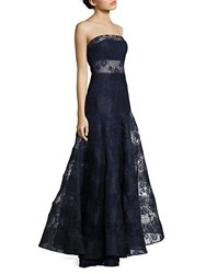 Basix Black Label Strapless Lace Gown Navy