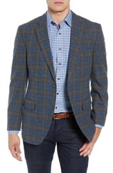 Kroon Taylor Classic Fit Plaid Wool And Cashmere Sport Coat Blue Plaid