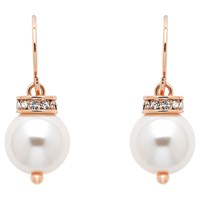 Finesse Faux Pearl Crystal Drop Earrings Pink Rose Gold
