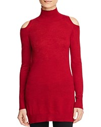 Three Dots Cold Shoulder Merino Wool Turtleneck Sweater Bordeaux