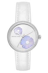 Michael Kors 'S Courtney Crystal Leather Strap Watch 36Mm White Silver