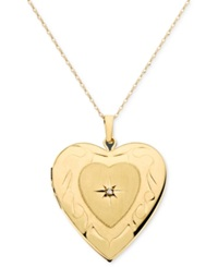 Macy's 14K Gold Necklace Diamond Accent Locket