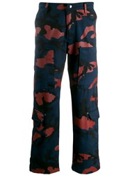 Valentino Camouflage Cargo Trousers Blue