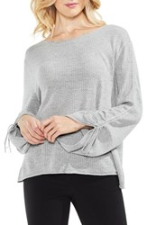 Vince Camuto Tie Sleeve Pointelle Sweater Grey Heather