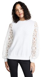 Clu Mixed Media Sweatshirt With Lace Sleeves White White