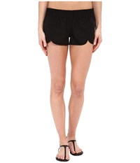 Hurley Supersuede Solid Scallop Beachrider Boardshorts Black Women's Swimwear