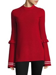 Mother Of Pearl Rubi Bell Sleeve Sweater Red White