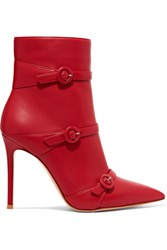Gianvito Rossi Robin Buckled Leather Ankle Boots Red