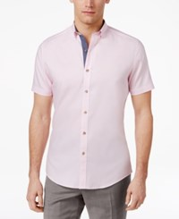 Bar Iii Wear Me Out Slim Fit Stretch Easy Care Short Sleeve Dress Shirt Pink Oxford