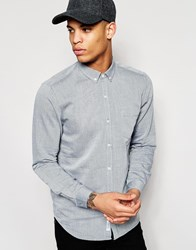 Pull And Bear Pullandbear Textured Slim Fit Shirt In Blue White
