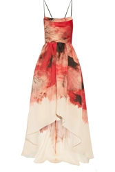 Lela Rose Printed Silk Gazar Gown