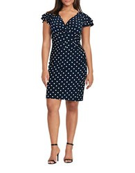 Lauren Ralph Lauren Plus Polka Dot Jersey Dress Light Navy