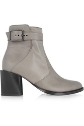 Helmut Lang Leather Ankle Boots Gray