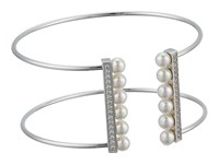 Majorica 5Mm Round Pearls And Cz Accents On A Titanium Wire Bangle White Bracelet