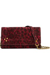 Jerome Dreyfuss Jack Leopard Print Suede Shoulder Bag Red