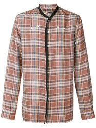 Raf Simons Linen Shirt With Belted Neck Brown