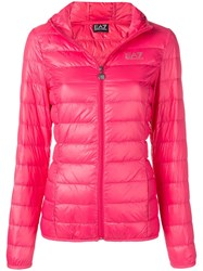 Emporio Armani Ea7 Hooded Puffer Jacket Pink