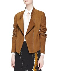 Donna Karan Asymmetric Zip Jacket Brandy