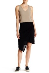 Michael Stars Asymmetrical Draped Wrap Skirt Black