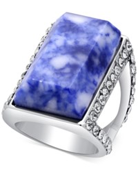 Guess Silver Tone Pave And Blue Stone Ring