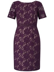 Adrianna Papell Short Sleeve Lace Shift Dress Plum Wine Tan