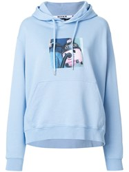 House Of Holland Sweeper Print Hoodie Cotton Blue
