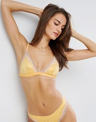 Asos Skye Satin And Lace Triangle Bra Vintage Yellow