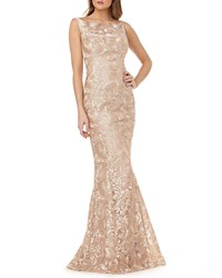 Kay Unger New York Metallic Lace Sleeveless Mermaid Gown Champagne