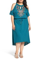 Democracy Plus Size Women's Embroidered Blouson Cold Shoulder Dress