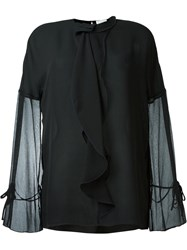 3.1 Phillip Lim Semi Sheer Ruffled Blouse Black