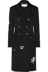 Jonathan Saunders Margaret Appliqued Wool Gabardine Coat Black