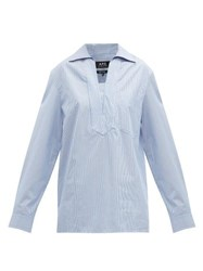 A.P.C. Roma Striped Oversized Cotton Shirt Blue White