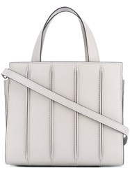 Max Mara Ribbed Effect Tote Calf Leather Cotton Grey
