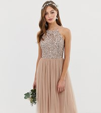 Maya Bridesmaid Halter Neck Midi Tulle Dress With Tonal Delicate Sequins In Taupe Blush Brown