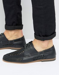 Asos Lace Up Shoes In Woven Black Leather Black