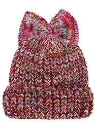Federica Moretti Bow Detail Beanie Hat Wool Polyacrylic Red