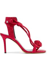 Isabel Marant Ablee Metallic Cracked Leather Sandals Red Gbp