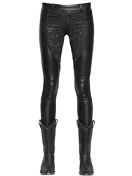 Faith Connexion Stretch Leather And Lurex Brocade Pants Black