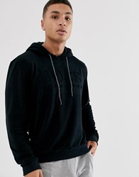 Boss Bodywear Towelling Logo Hoodie In Black