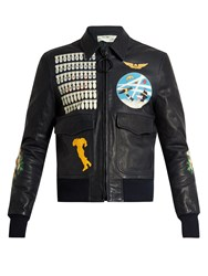 Off White Leather Bomber Jacket Black Multi