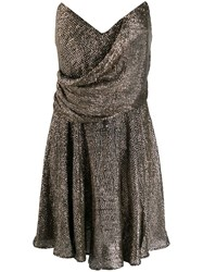 Maria Lucia Hohan Strapless Shift Dress Silver