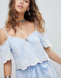 Kiss The Sky Cold Shoulder Crop Top In Pinstripe And Lace Co Ord Blue